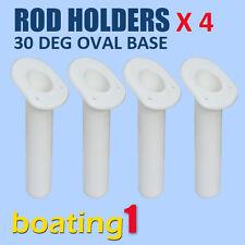 ROD HOLDERS X 4 Plastic Rod Holder Flush Mount 30 Deg Oval Base White