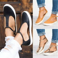 Womens T-strap Ankle Strap Sandals Flat Ladies Summer Closed Toe Flat Shoes Size