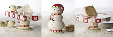 Neiman Marcus/Horchow Ceramic Snowman Cookie Jar, Cake Plate Or Cookie Tray