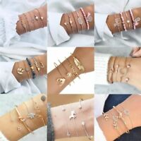 Fashion Women Gold Punk Crystal Cuff Bracelet Bangle Chain Wristband Jewelry New