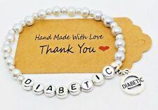 Handmade Beaded Medical Alert ID bracelet, Diabetes Diabetic Medic alert