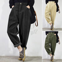 Size Women Vintage Corduroy Harem Slouch Trousers Relaxed Fit Tapered Pants 8-26