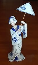 Vintage Geisha Figurine Porcelain with Parasol Umbrella-Made in Japan