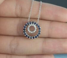 $1,250 14K White Gold Blue Sapphire Single Diamond Double Circle 16'' Necklace