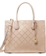 New Michael Kors Mercer Grommet Large Convertible Tote Gold Pink leather bag