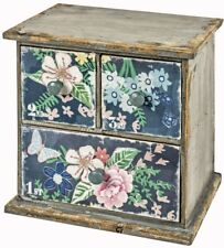 Flowers Black Blue Pink Stationery Jewellery Table Desk Box 3 Drawer Storage