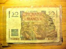 SCARCE FRANCE 1949 50 FRANCS BANK NOTE RARE YEAR Currency #T946