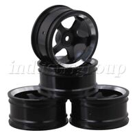 4Pcs Aluminum RC1:10 On Road Racing Car Wheel Rims With 5-Spoke Black
