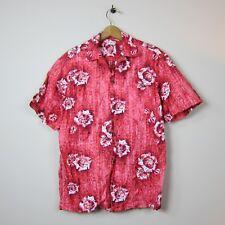 60s Aloha Kimi's L Pink Floral Decal Front Pocket Wood Button Hawaiian Shirt