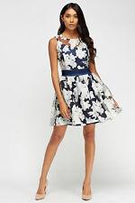 Zibi London Organza Floral Dress With Satin Sash Size UK 14 Lf086 HH 20