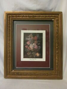 ornate wood frame roses gesso Antique Floral Fiesta print wall decor art *PLEASE