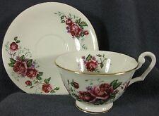 Clarence Bone China Footed Tea Cup & Saucer Set 734-09 Roses England