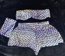 Missoni Bikini Top & Shorts Size IT44 12 Uk Zig Zag Purple Bandeau Strapless
