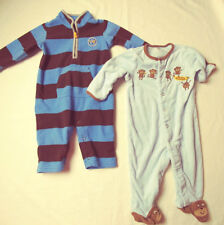 Carters Baby Jumpsuit Blue Brown Stripe AND Footed Sleeper Blue 6 Months #6136