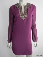 NWT $465 NICOLE MILLER P S Silk Sequins Beads Purple Cocktail Tunic Dress NEW