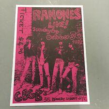 RAMONES - CONCERT POSTER CBGB'S NEW YORK CITY SUNDAY EVE OCTOBER 3OTH  PUNK