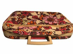 Vintage Floral Fabric & Vinyl Soft Sided Suitcase Weekend Bag Mid Century JAPAN