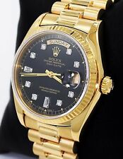 Rolex President Day-Date 18038 18K Yellow Gold Baguettes Diamond Dial *MINT*