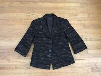 LAFAYETTE 148 Brown Metallic Tweed Boucle Jacket Size 4 Blazer
