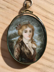 Pristine Portrait Miniature painting of a lady.19th century