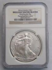 2014 1 oz Silver American Eagle $1 Coin NGC Brilliant Uncirculated (77)