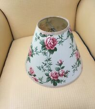 """Lamp shade floral shabby chic Green & pink 7.75""""H 10"""" bottom 4"""" top opening clip"""