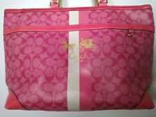Coach Signature XL Large Purse Tote Bag Leather Hobo L0873 Pink Gold logo Charms