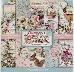 """Stamperia Double-Sided Paper Pad 12""""X12"""" 10/Pkg-Pink Christmas, 10 Designs/1 Eac"""