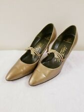 50's Vintage Women's Martinique Gold Stiletto Pumps - Size 8
