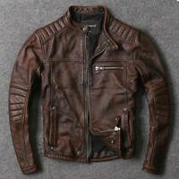 Men's Biker Vintage Cafe Racer Distressed Brown Real Leather Motorcycle Jacket