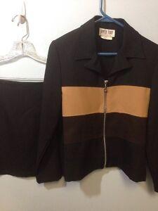 Byer Too Size 7 Black Brown Tan Skirt Jacket Set