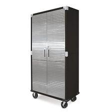 "Seville Classics UltraHD 5"" wheels Tall Storage Cabinet - Graphite"