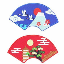 Japanese Embroidery Patches Fan Iron on Applique DIY Clothing Sewing Badge Acc