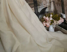 "Heavy Woven Ivory Cream 100% Irish Linen 60"" Designer Curtain Fabric"