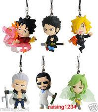 BANDAI One Piece Anime Cool Fight Phone Strap Figure (Set 6 pcs) Luffy Sanji Law