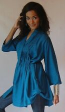 teal blouse top shirt 2X 3X 4X-tucks pleats buttons drawstring 3/4 sleeve zy442