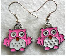 Dangle earrings - Cute pink enamel owls