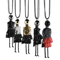 Women Necklace Crystal Rhinestone Doll Beads Chain Pendant Charm Sweater Jewelry