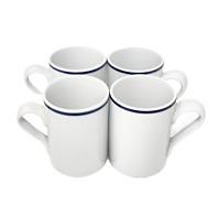 "Set of 4 Dansk Christianshavn BISTRO Mugs 4.25"" Blue White Portugal"