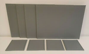 8 Piece Grey Faux Leather Leatherette 4 X Placemats & 4 X Coasters Set NEW