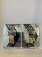 2020 MOSAIC AARON RODGERS BASE & MVP PACKERS 2 CARD LOT INVEST!!