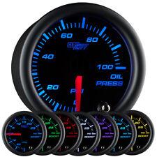 "52mm or 2 1/16"" GlowShift Black 7 Oil Pressure PSI Gauge w 7 LED Colors"
