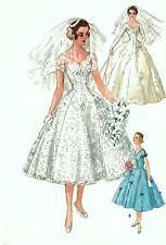 "Vintage 1950's Sewing Pattern Grace Kelly Wedding Gown,Veil & Head-piece B 34"""