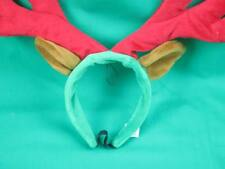 CHRISTMAS COSTUME PUPPY DOG RED GREEN REINDEER ANTLERS PLUSH STUFFED HEADBAND
