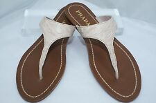New Prada Women's Sandals Flip Flop Ivory Thongs Flats Size 36.5 Shoes Leather