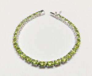 Silver Peridot Bracelet Green Periodot Bracelet Men Peridot Gemstone Bracelet
