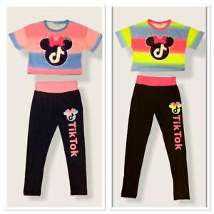 Kids Girls TikTok Crop Top & Leggings Glitter sequin Casual Part Active Wear