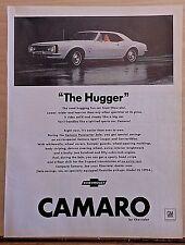 """1967 magazine ad for Chevrolet - white Camaro, """"The Hugger"""""""