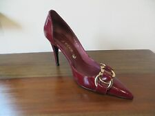 New Burgundy patent leather heel with gold detail size 38