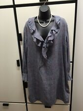 45rpm M JAPAN 3 Cotton Dark Gray Combo Plaid Check Ruffled Neck Tie Retro Dress